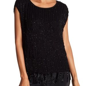 NWT Joie Cecile Beaded Blouse Top Black Caviar